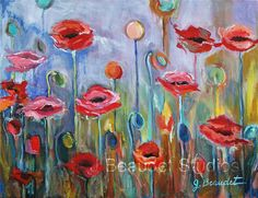 Original Poppies Painting 11x14 canvas red by JBeaudetStudios