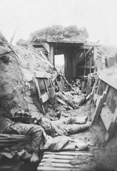 A stormed British trench near Comines, 1918.