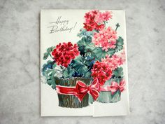 Vintage 1940s Unused Greeting Card Geraniums Cut Out Birthday