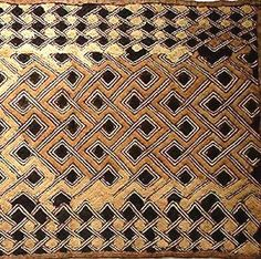 """Kuba Cloth The variations in the pattern and """"disappearance"""" of some of the raffia lead me to think that this is an older piece."""