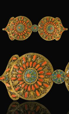 Ottoman Provinces | Coral set and enamelled silver gilt belt buckle | 19th century. Possibly Greece