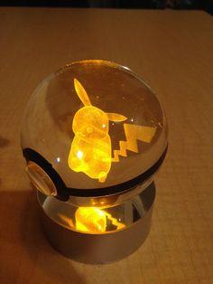 Laser engraved light up Pokemon in pokeball