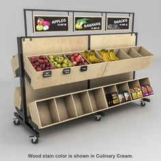 We offer Lozier wooden gondola shelving kits on wheels. Comes with wood bins, chalkboard headers and locking casters. In stock. Supermarket Design, Retail Store Design, Retail Stores, Wood Display, Display Shelves, Display Ideas, Window Display Retail, Window Displays, Gondola Shelving