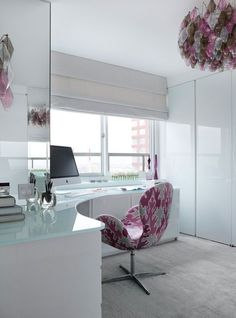 pink and white glass corner office