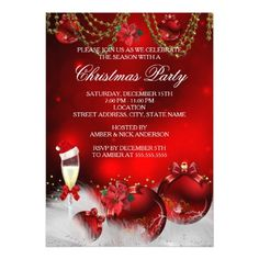 1462 best 2017 christmas party invitations images on pinterest red gold baubles champagne christmas party card m4hsunfo