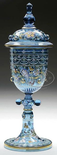 Fabulous vintage enamelled and hand painted glass tall pokal vase by Moser, 19th Cent.: