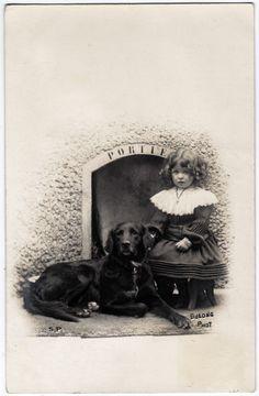 Little Girl and Lovely Black Dog Labrador Retriever, 1904