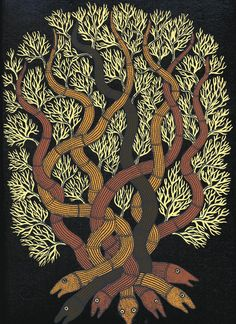 From 'The Night Life of Trees' (Tara Books) featuring tree art created by members of the Gond tribe of India