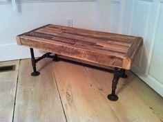 Industrial wood & steel coffee table, reclaimed barnwood with industrial pipe legs. $325.00, via Etsy.