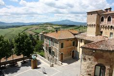 Val d'Orcia. View from the village of San Casciano Dei Bagni, Siena, Italy.