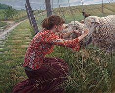 Artist Danielle Richard (Canadian: 1954) - ''Emily et les moutons''