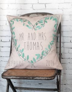 Personalized Teal Heart Wedding Pillow by Jolie Marche choose your names or phrase