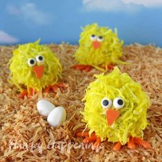 So cute! So delicious! (Coconut Cake Ball Chicks) Thought of you Tina C. and Yaderia