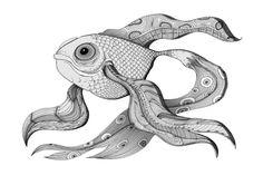 Fisk, fish, zentangle, stavern, drawing, tegning, illlustrasjon, illustration