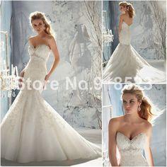 Inexpensive Lace Bodice Satin Brush Train Wedding Dress Mermaid Sweetheart $175.00