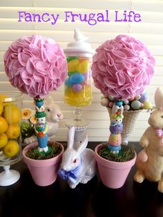 Cheap candle sticks to Easter Topiary