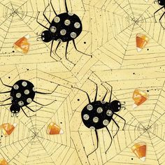 Halloween Fabric Clothworks Witchful Thinking by AnnadaisysFabrics Halloween Spider, Halloween Ideas, Halloween Quilt Fabric, Black Spider, Halloween Patterns, Candy Corn, Rooster, Scary, October