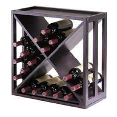 24-Bottle Modern Wine Rack Modular and Stackable New in Espresso Home Kitchen #Unbranded