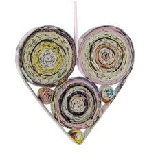 Heart made from magazine coils.