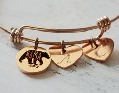 Personalized Gifts for mom, gift for new mom, mama bear charm, kids, initials, personalized, gold bracelet gifts for women engraved bracelet This unique MAMA BEAR bracelet is the newest GIFT IDEA in 2017 MOTHERS DAY! The bracelet is adjustable to any wrist! BUY one for her, for whom loving you