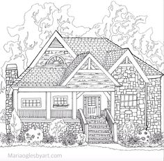 This is one of a series I did for an adult coloring book of hou. House Colouring Pages, Quote Coloring Pages, Cat Coloring Page, Printable Adult Coloring Pages, Free Coloring, Coloring Sheets, Coloring Books, House Drawing, Colorful Drawings