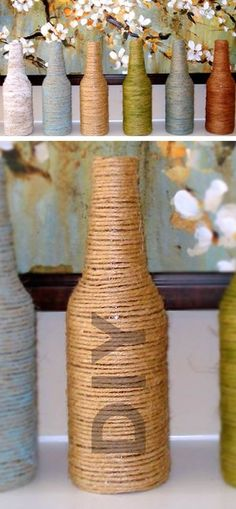 Reciclando garrafas com barbante passo a passo                                                                                                                                                                                 Mais