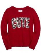 Sequin Animal Print Word Sweater
