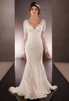 Brides: Martina Liana. See more details from Martina Liana Lace over Parisian silk chiffon wedding dress with scalloped-lace edging. The low back zips up under crystal buttons. Choose from lace shoulder straps or long illusion sleeves.