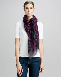 London Animal-Print Scarf, Magenta by Burberry at Neiman Marcus.