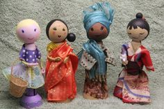 Make a range of dressed and international clothes pin dolls for decorations or as figures for dolls' houses or dioramas.