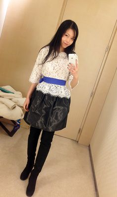 joie lace top, dior pf12 skirt, and fendi otk boots.