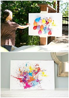 BALLOON DART PAINTING WITH KIDS- DIY painting with children outdoors: just fill paint in balloons, inflate something, play darts and hang the artwork ;-] DIY Outdoor Fun Activity and Art for Kids with Balloons and Color Kids Crafts, Summer Crafts, Projects For Kids, Diy For Kids, Arts And Crafts, Summer Fun For Kids, Party Crafts, Creative Ideas For Kids, Art Ideas For Teens