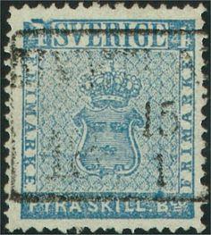 Sweden 4 Skilling Banco 1855 -  Streck över vänster 4 (Facit-Nr 2v5)