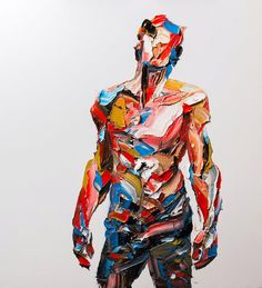 """Iranian artist Salman Khoshroo works with a large palette knife and generous amounts of oil paint to create his enormous portraits.  """"The scale on a computer or mobile screen can be quite deceiving, as most of these pieces are several feet tall, composed of enormously precise strokes that veer toward abstraction while eventually leading to a cohesive figure.   Most of the paintings seen here were created for a 2015 show at Azad Gallery and an exhibition earlier this year at Shirin Galler..."""