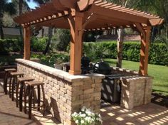 The pergola kits are the easiest and quickest way to build a garden pergola. There are lots of do it yourself pergola kits available to you so that anyone could easily put them together to construct a new structure at their backyard. Wood Pergola Kits, Pergola Canopy, Deck With Pergola, Cheap Pergola, Wooden Pergola, Covered Pergola, Backyard Pergola, Pergola Shade, Pergola Plans
