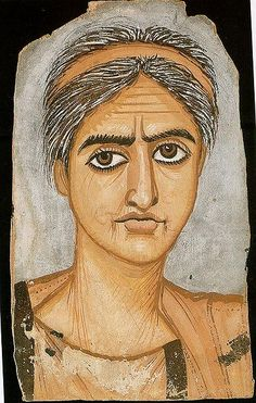 Roman, from the Fayum area of Egypt, 300-325 CE The painter has emphasized the age of the woman through stressing her wrinkles and grey hair. London, British Museum