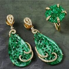 18k gold carved natural jade and diamond earrings and matching ring
