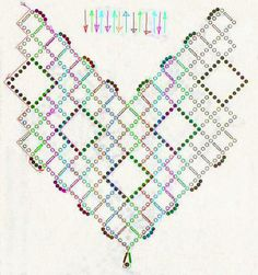 Free pattern schema for necklace Beaded Squares | Beads Magic