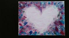 9x12 Bleeding Love Heart Acrylic Canvas  by CopilotCreations