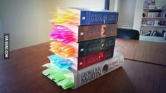 A friend of mine marked every single death in the books. Game of Thrones