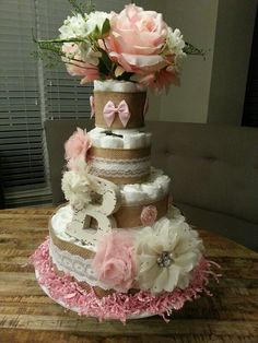 DIY Shabby Chic diaper cake for baby girl. We made this for my best friend ♡♡♡♡