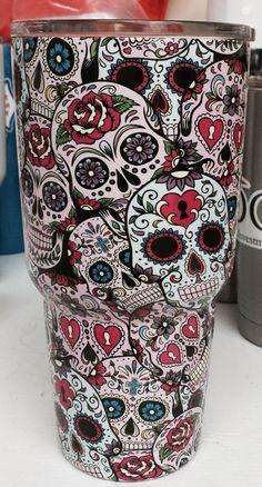 Fish Skulls Over Green Oz Yeti Cup Lonestar Concepts Design - Sugar skull yeti cup