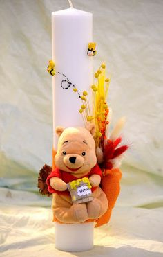 Christening Decorations, Baptism Candle, Wedding Unity Candles, Candle Craft, Palm Sunday, Kids And Parenting, Origami, Diy And Crafts, Winnie The Pooh
