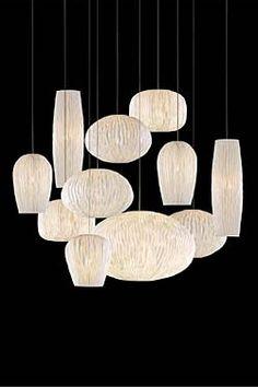 Grande suspension à onze lumières tissu blanc plissé siliconé Coral. Arturo Alvarez.