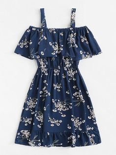 Classy Fashion Tips Cold Shoulder Floral Print Tiered DressFor Women-romwe.Classy Fashion Tips Cold Shoulder Floral Print Tiered DressFor Women-romwe Cute Casual Outfits, Cute Summer Outfits, Pretty Outfits, Pretty Dresses, Stylish Outfits, Beautiful Dresses, Teen Fashion Outfits, Mode Outfits, Outfits For Teens