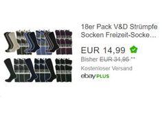 """Ebay: 18er Pack V&D-Socken für 14,99 Euro frei Haus https://www.discountfan.de/artikel/klamotten_&_schuhe/ebay-18er-pack-vd-socken-fuer-1499-euro-frei-haus.php Als """"Wow! des Tages"""" sind heute bei Ebay 18 Paar V&D-Socken zum Schnäppchenpreis von 14,99 Euro frei Haus zu haben – pro Paar zahlt man mit Lieferung also nur 83 Cent. Ebay: 18er Pack V&D-Socken für 14,99 Euro frei Haus (Bild: Ebay.de) Die 18 Paar Socken für 14,99 Euro... #Socken"""