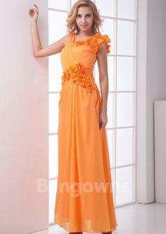 V-back V-neck Flowers Yellow Chiffon A-line Ankle Length Sleeveless Evening / Prom Dresses