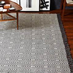 Wave Jute Rug - Black/Ivory #westelm For the deck