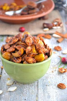 Cinnamon Spiced Nuts - pine nuts (might sub another nut/seed, like hazelnuts or walnuts), pecan halves, almonds, macadamia nuts, cashews, cinnamon, pumpkin pie spice, chili powder, stevia, sea salt, black pepper, fresh orange zest, olive oil (might sub another oil/fat)