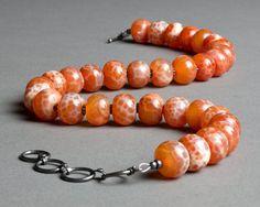 Orange Rust Necklace  Fire Agate Gemstone Oxidized by RedChair, $82.00